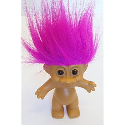 "Russ Magenta Pink Haired Troll Doll 4.5"" Tall with Hair 6"" Tall: Toys & Games"