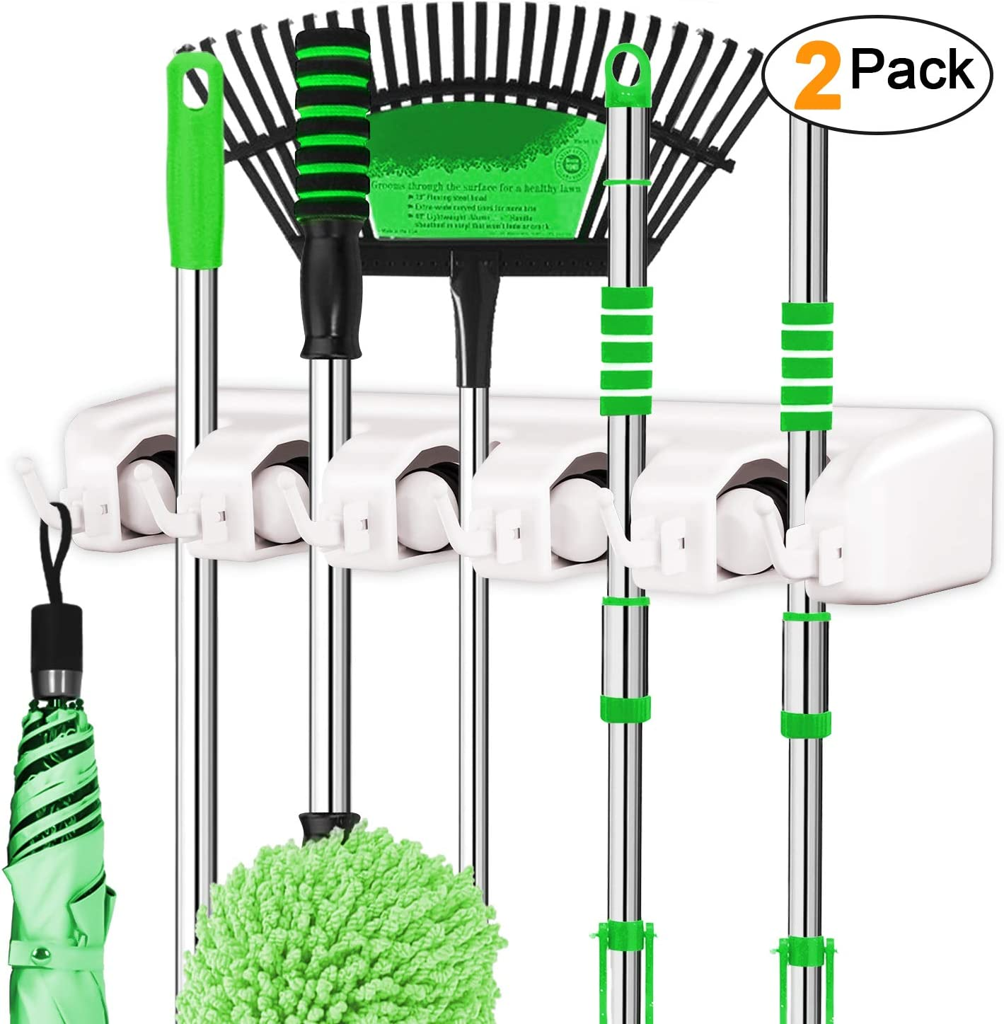 LETMY Broom Holder Wall Mounted - Mop and Broom Holder - Garage Storage Rack&Garden Tool Organizer - 5 Position 6 Hooks for Home, Kitchen, Garden, Tools, Garage Organizing (White, 2 Pack)