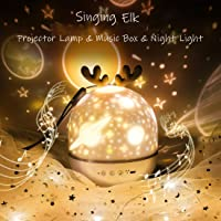 IVLWE 3 in 1 Rechargeable Rotating Star Projector Lamp | Elk Night Light | Classic Music Box | 6 Theme Films: Universe…