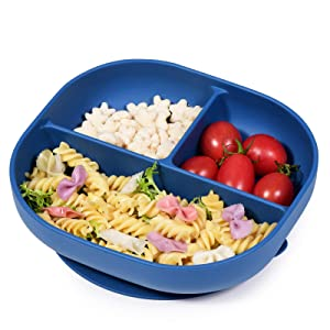 BABELIO Suction Plates for Babies, Divided Plates for Kids self Feeding, Baby & Toddler Plates, BPA Free Food Grade Silicone Baby Plates, Fits for Baby Highchair Trays, Microwave & Dishwasher Safe