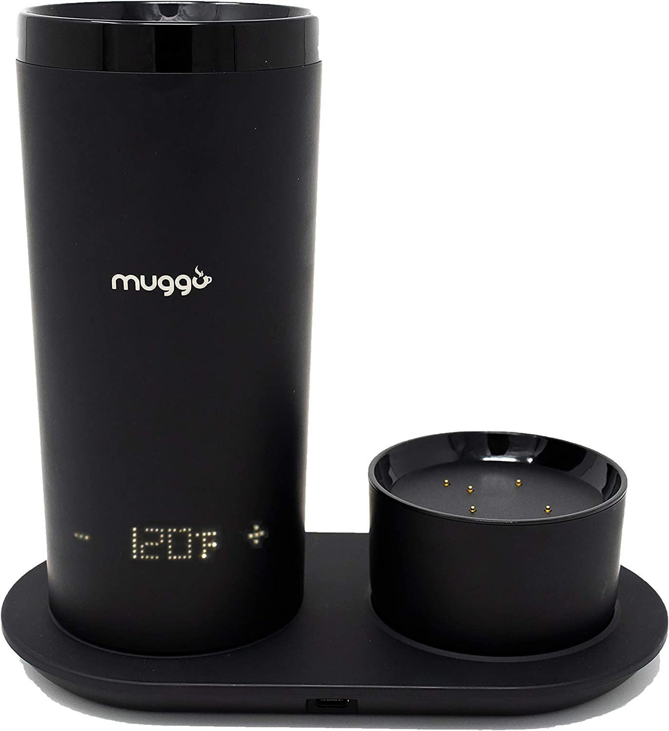 Muggo 12 oz Temperature Control Mug with 3 hour Battery Life, Tea, Coffee, Hot Beverage Warmer, Heated Travel Mug with Dual Charger