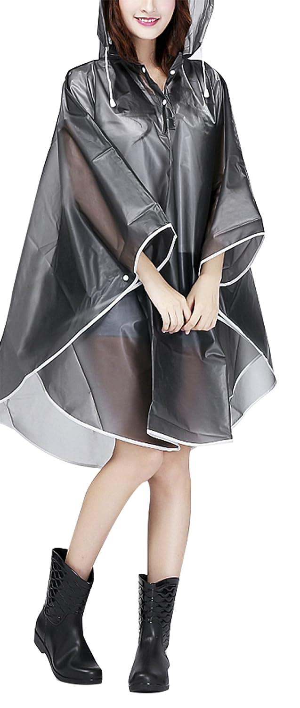 Raincoat – Capa de lluvia para mujer, portátil, de EVA, con capucha, para Moto/Bicicleta, para viaje/Camping/Senderismo/vacaciones, color gris, ...
