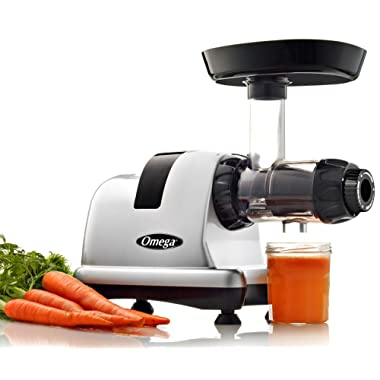 Omega Juicer J8007S Juicer Extractor and Nutrition Center Creates Fruit Vegetable and Wheatgrass Juice Quiet Motor Slow Masticating Dual-Stage Extraction with High Juice Yield, 200-Watt, Silver