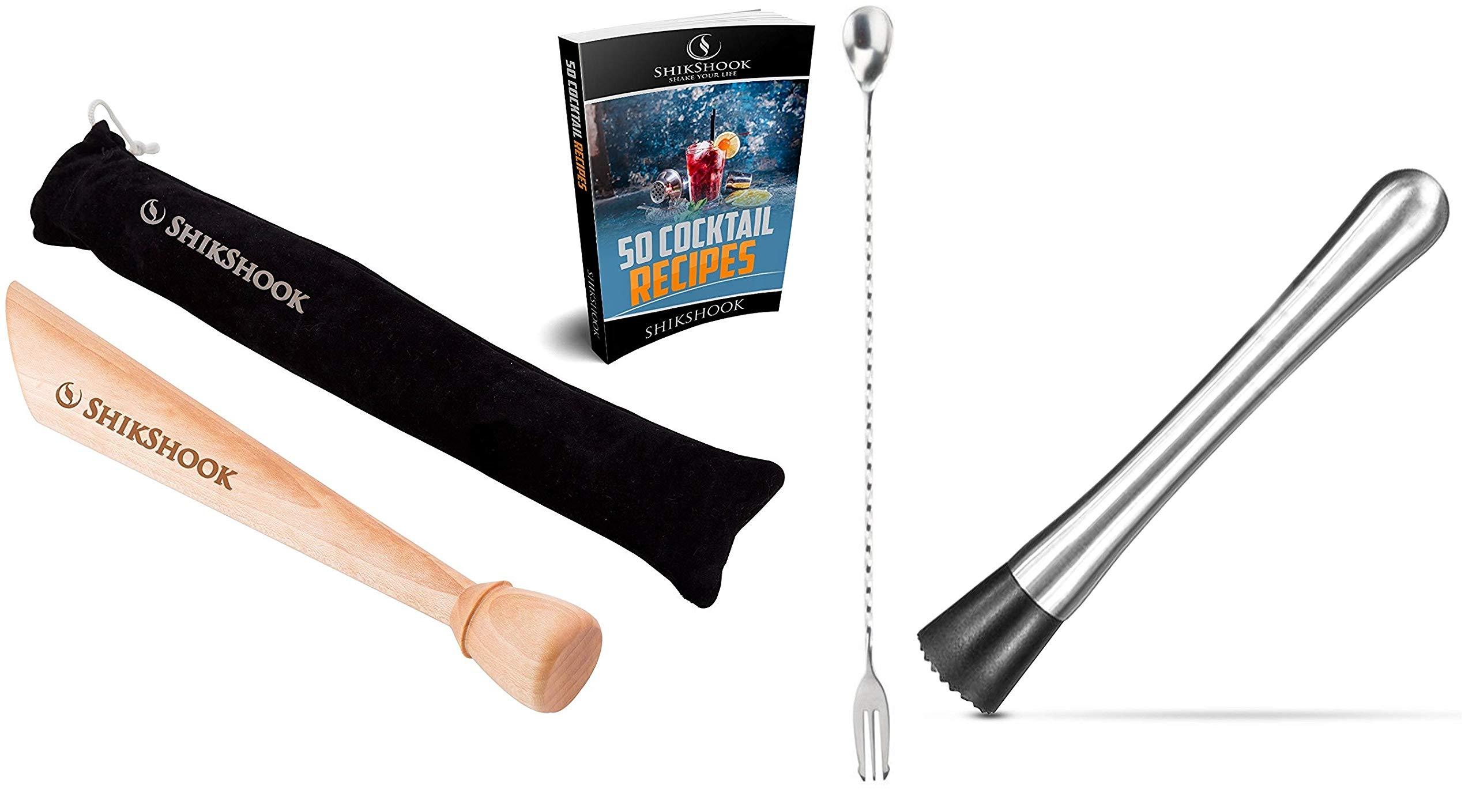 wood muddler+steel muddler+fork spoon