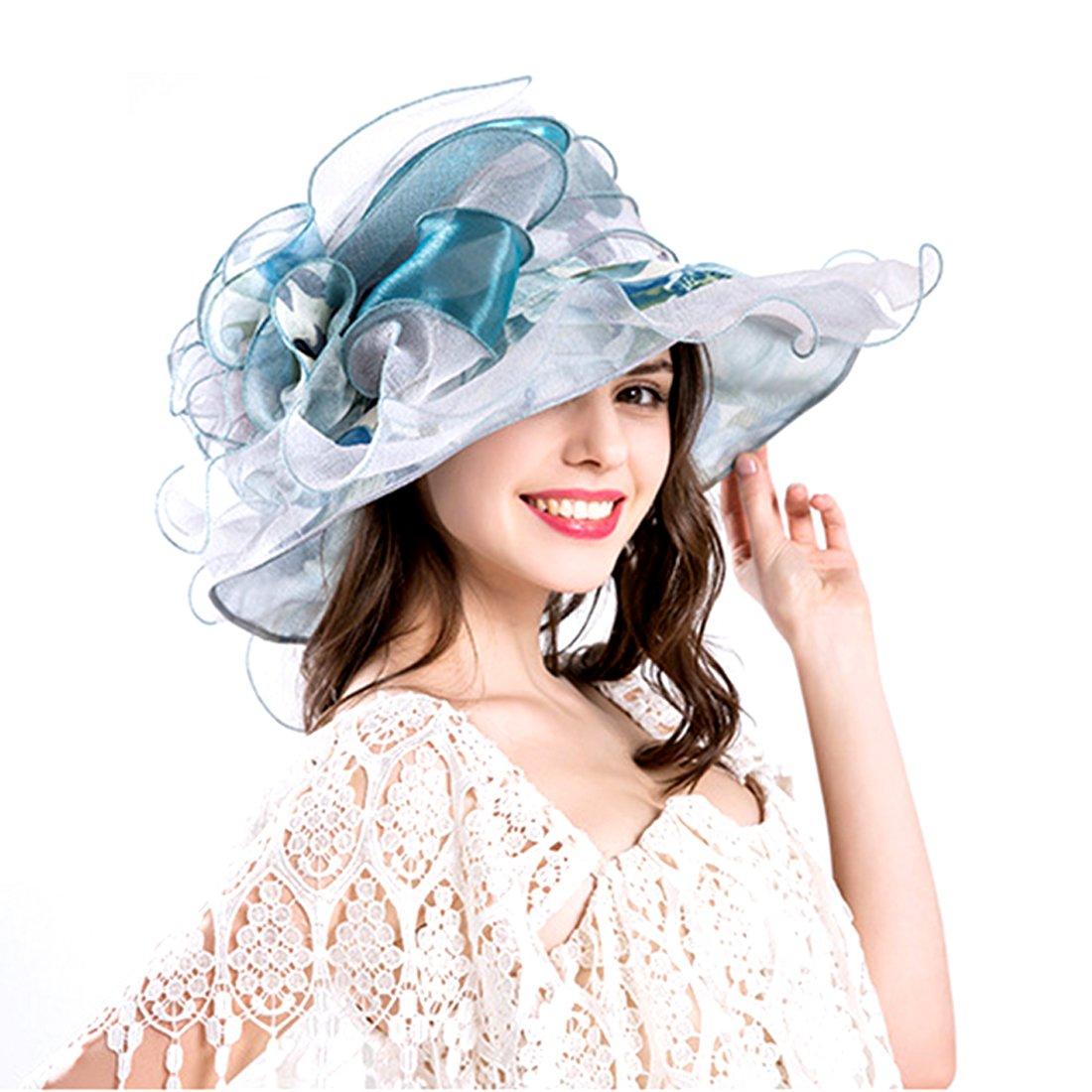 Harmony Life Women Foldable Organza Church Derby Hat Ruffles Wide Brim Pink-a
