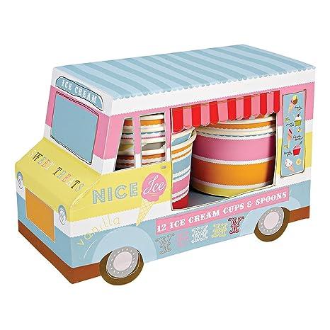 Meri Meri Ice Cream Van With Cups And Spoons 12 Pack