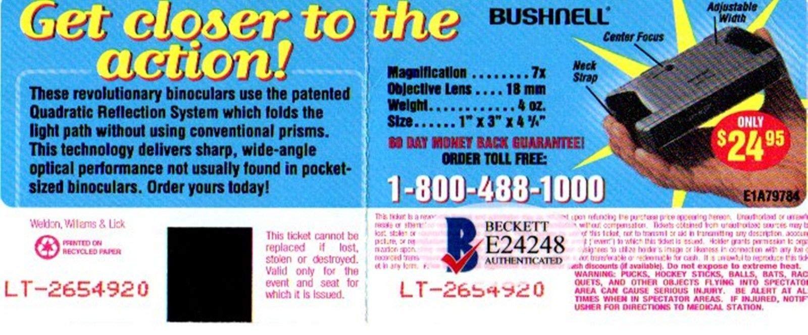 Beckett Authentic Bas Brian Wilson Imagination Autographed Signed Autographed Signed 2000 Ticket Stub E24248