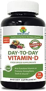 Brieofood Food Based Vitamin D 5000 IU 90 Vcaps - Premium Formula With Fruit & Vegetable Blends, Digestive Blend, Vegetable Omega Blend