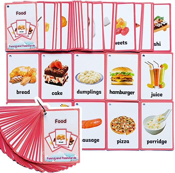 Richardy 33PCS/Set Food Kids Gifts English Flash Cards Pocket Card Educational Learning Baby Toys for Children Pre-Kindergarten