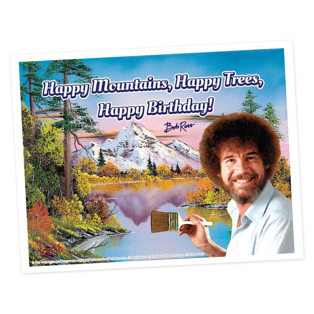 Bob Ross - Hoja de glaseado para tarta (impresión de 1/4 ...