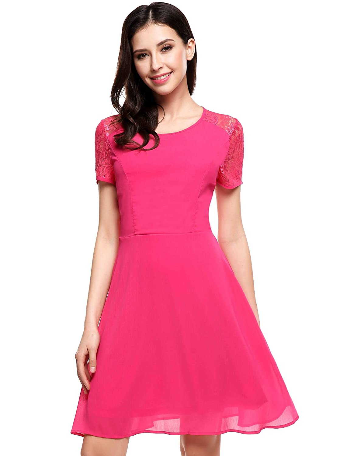 Meaneor Women' s Short Sleeve Pleated Lace Slim Lace Fit-and-Flare Dress