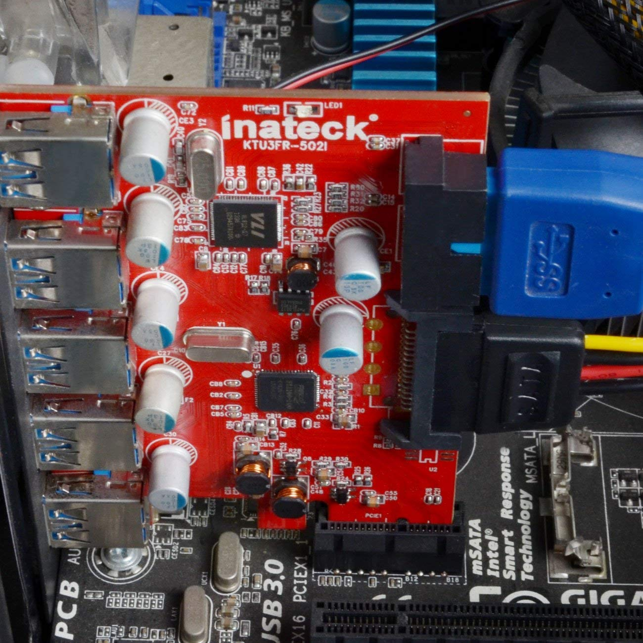 Inateck PCI-E to USB 3.0 (5 Ports) PCI Express Card and 15-Pin Power Connector, Red (KT5001) by Inateck (Image #5)