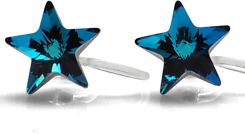 RAYON Series Silver Earrings Sleeper Crystal Setting Square Transparant Minimalist Retro