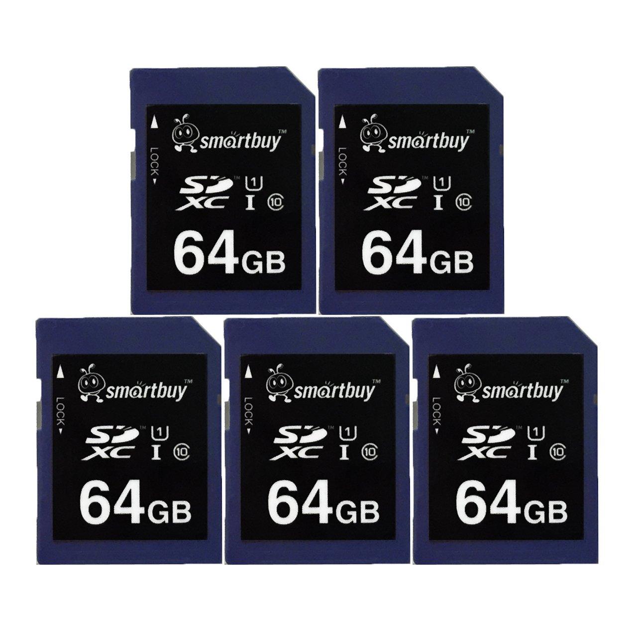 Smart Buy SD XC Class 10 Memory Card SDXC C10 Ultra U1 UHS-I HD Fast Speed for Camera (64GB (5-Pack))