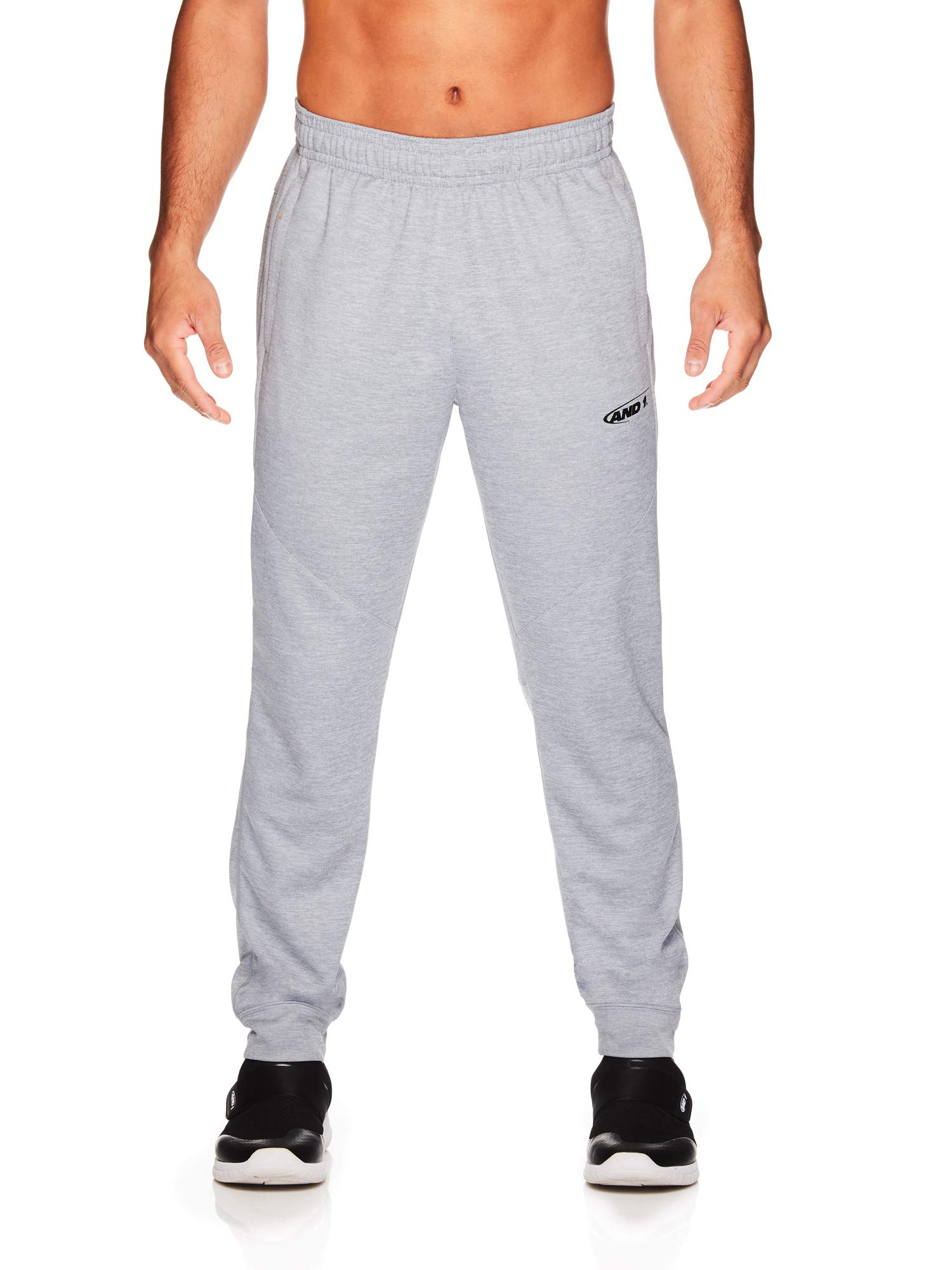 AND1 Men's Tricot Jogger Pants - Basketball Running & Jogging Sweatpants w/Pockets - Grey Heather, Small