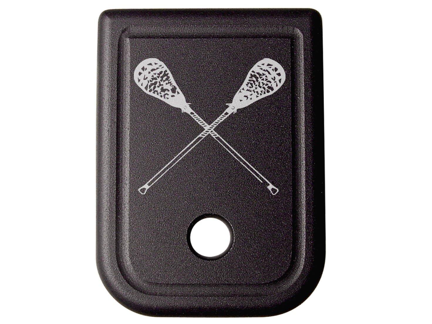 for Glock 9MM .40 Gen 1-5 Floor Base Plate Black NDZ Lacrosse Sticks Crossed