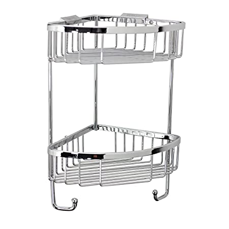 Roman RSB05 Chrome Double Corner Shower Basket with Hook: Amazon.co ...