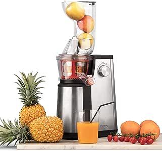 Licuadora para Frutas y Verduras de Prensado en Frío, Extractor de Jugos, Multifunciones, Boquilla Extra Grande, 1 Litro, 60 RPM, 400 W, Libre de BPA, Acero Inoxidable, Gris. H.Koenig_GSX22: Amazon.es: Hogar