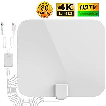 Antena TV Interior,Antena de TV HD,Antena de TV Portátil con Rango Amplificado de 80millas(128km), 4M de Cables de Alto Rendimiento-Blanca: Amazon.es: ...