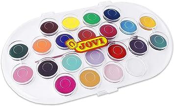 Jovi - Acuarelas, estuche con 22 pastillas de 30 mm, colores surtidos (830/22): Amazon.es: Juguetes y juegos