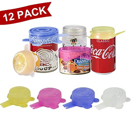 longzon. 12 Piezas Tapas Silicona Ajustables Cocina 6.5CM, 4 Colores de Tapas Silicona para Latas, Sin BPA, para Lavavajillas, Microondas, Horno o ...