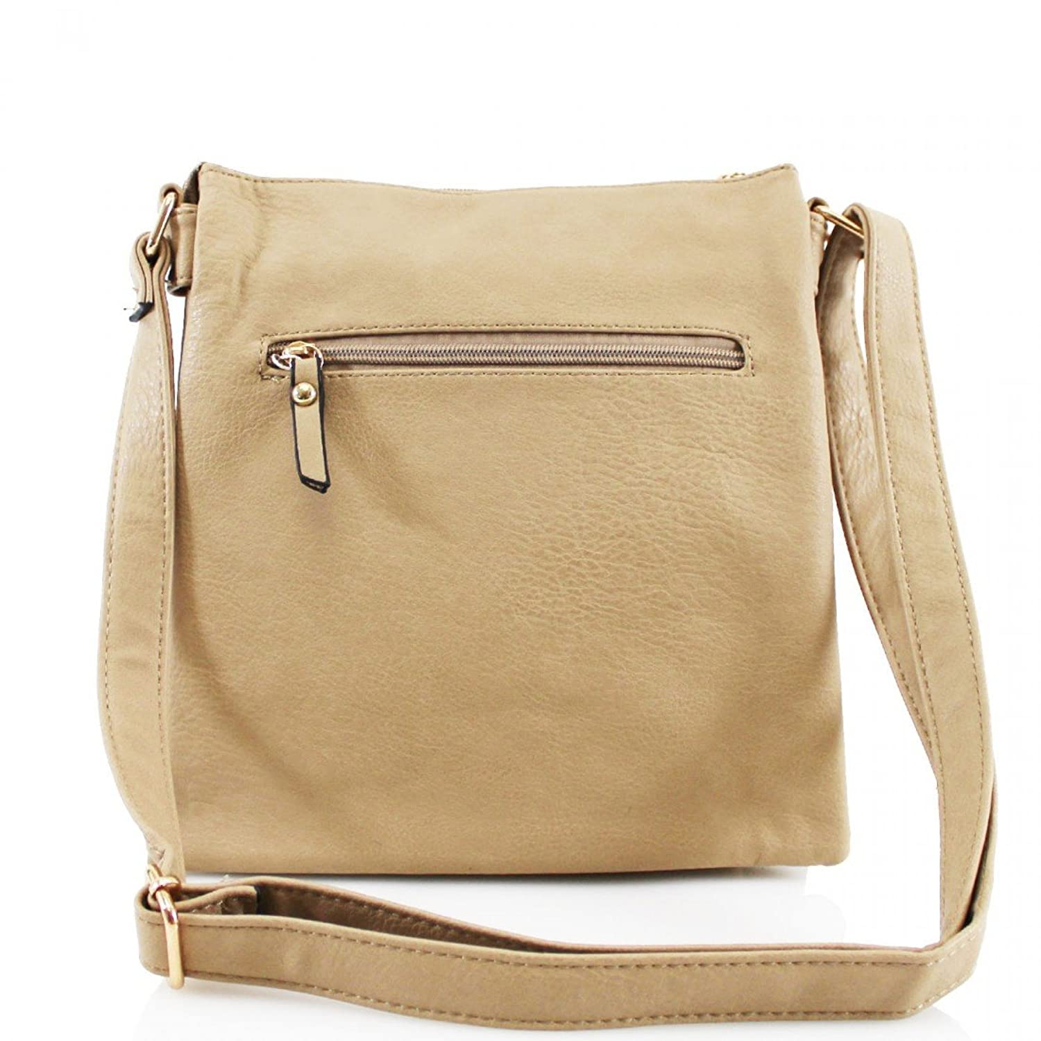 Womens Multi Compartment Top Zip Opening Messenger Shoulder Cross Body Bag  (Apricot): Amazon.co.uk: Shoes & Bags