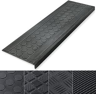 casa pura - Juego de 5 peldaños antideslizantes para escaleras de caucho para interior y exterior: Amazon.es: Bricolaje y herramientas
