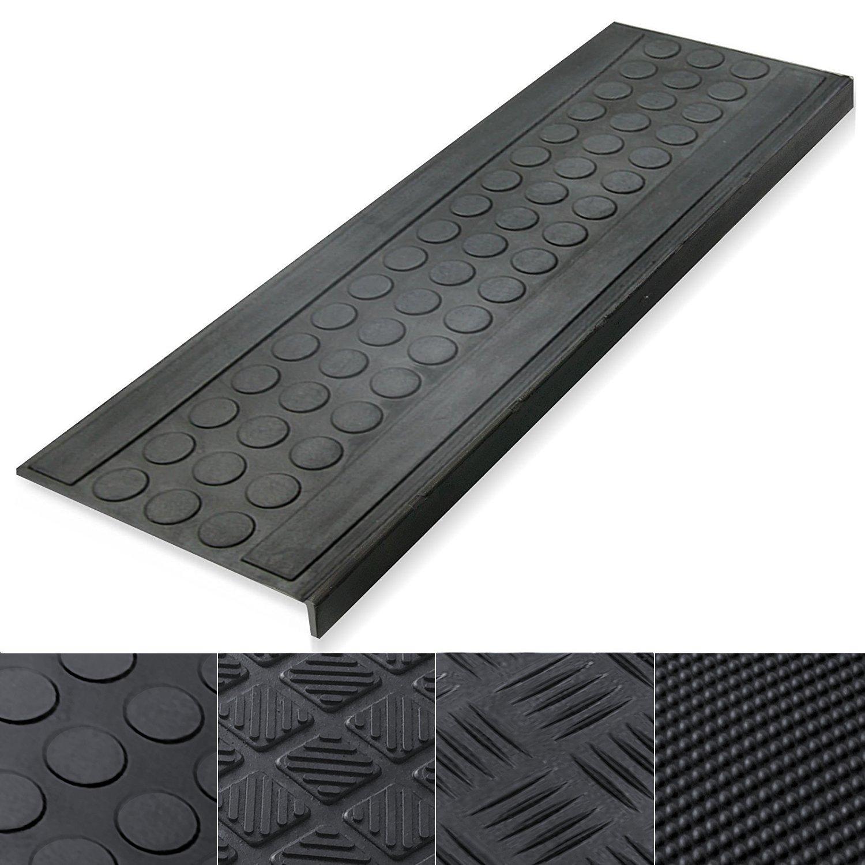 5 Piece 100% Weatherproof Indoor Outdoor Non Slip Rubber Stair Treads, Black