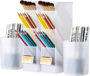 4 Pcs Desk Organizer, Wellerly Pen/Pencil Markers Holder Storage Box Desk Organizer Multi-Functional for Office School Home Supply - Translucent White 2 Pack Holders & 2 Pack Cups