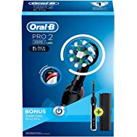 Oral-B Pro 2 2500 CrossAction Electric Toothbrush Rechargeable Powered by Braun, 1 Black Handle, 2 Modes Including Gum Care, 1 Toothbrush Head, Travel Case, 2 Pin UK Plug
