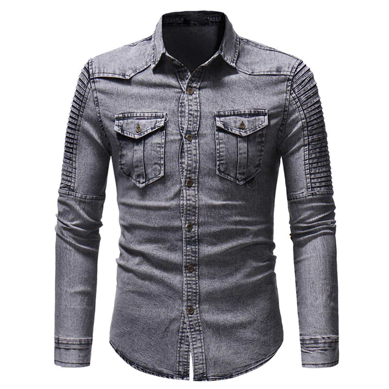Carolyn Jones Mens Spring and Autumn Washed Pleated Pocket Single-Breasted Denim Shirt Slim Long Sleeve