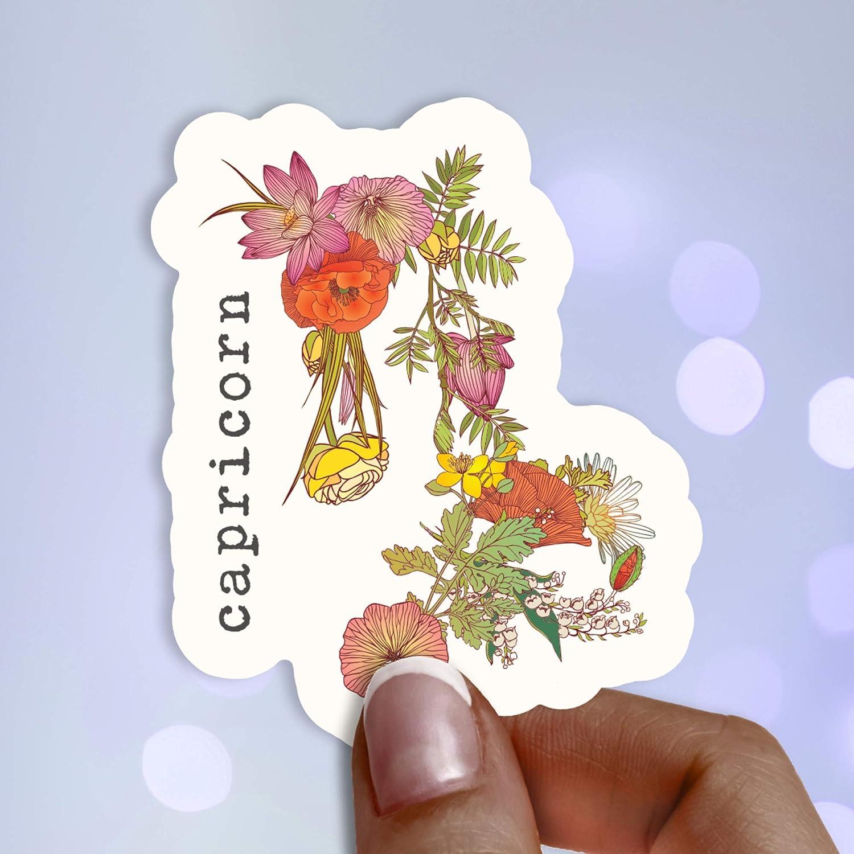 Capricorn Botanical Vinyl Sticker・Waterproof Stickers・Water Bottle Stickers・Car Stickers・Laptop Stickers・Weatherproof Stickers