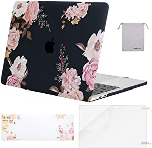 MOSISO Compatible with MacBook Pro 13 inch Case 2019 2018 2017 2016 Release A2159 A1989 A1706 A1708, Plastic Peony Hard Shell Case&Keyboard Cover Skin&Screen Protector&Storage Bag, Black