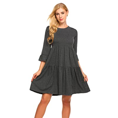 ACEVOG Women's A-Line Pleated 3/4 Sleeve Ruffle Sleeve Little Casual Swing Dress at Women's Clothing store