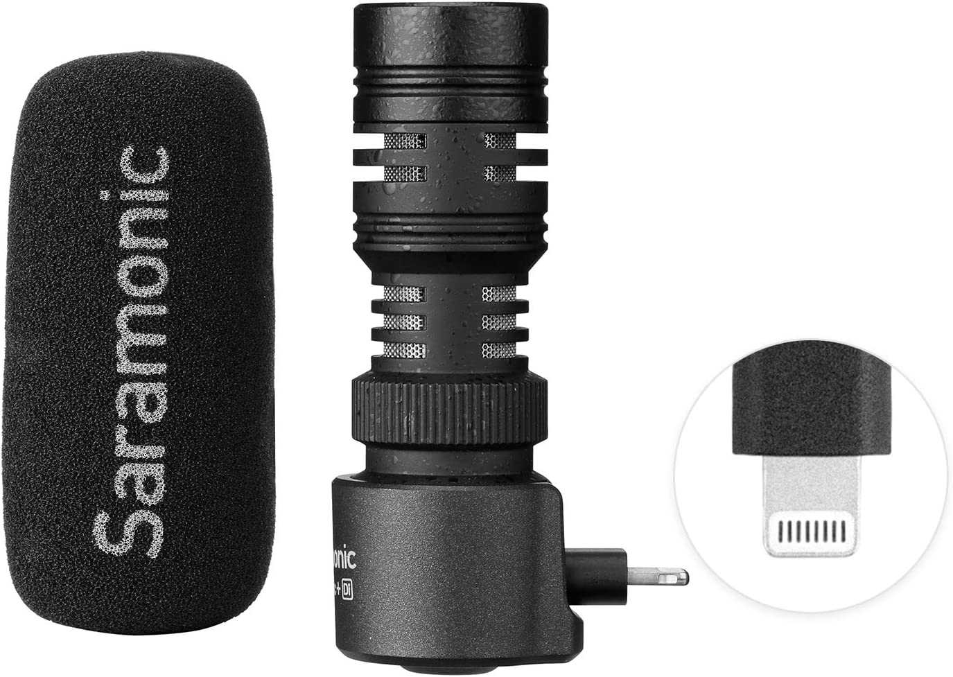 Saramonic SmartMic+ Di Compact Directional Microphone with Lightning Connector Compatible With Apple iPhone and iPad with Foam Windscreen