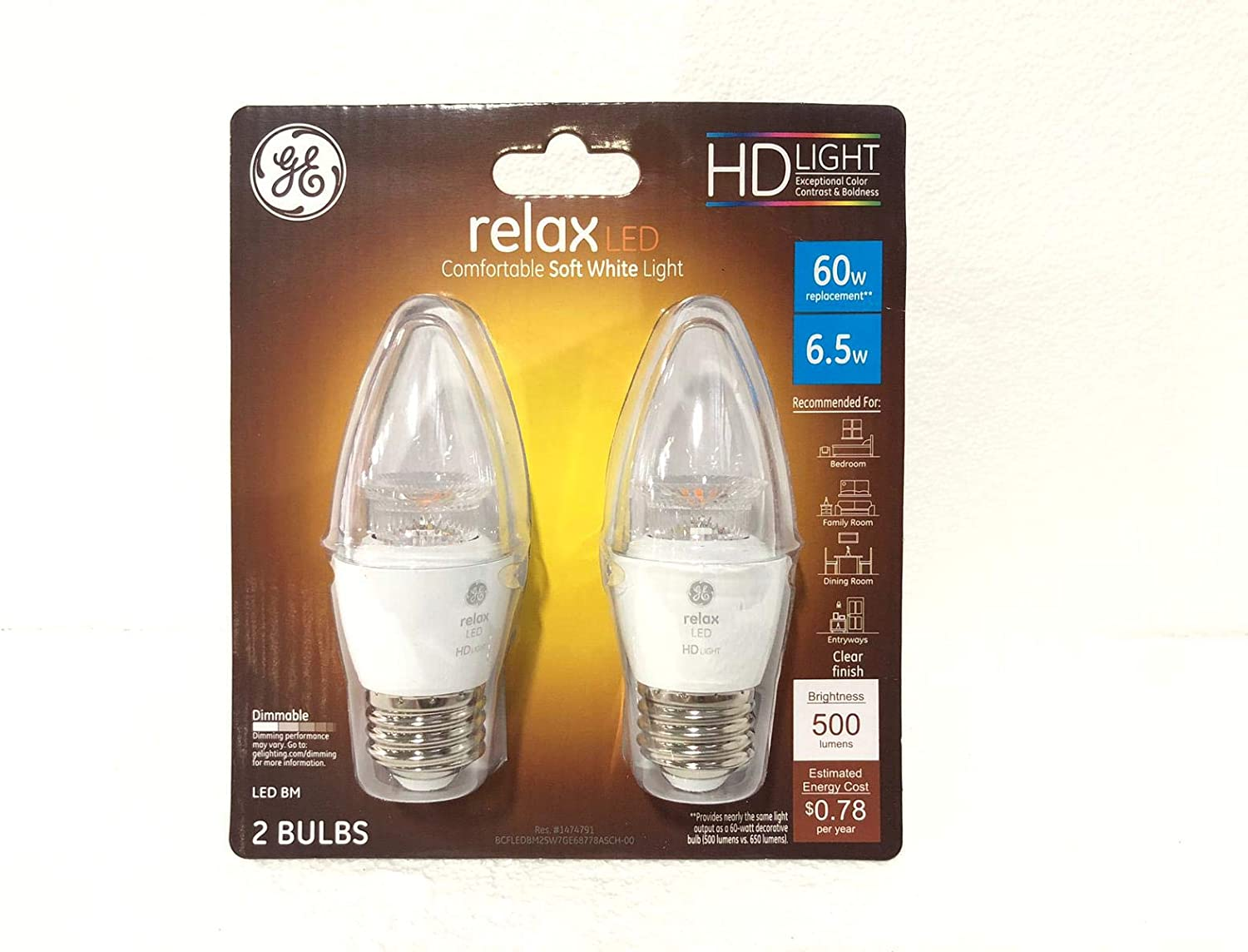 High Definition CA10 Blunt Tip Clear Medium Base Dimmable LED Light Bulb GE 60W Equivalent Soft White 2700K 2-Pack