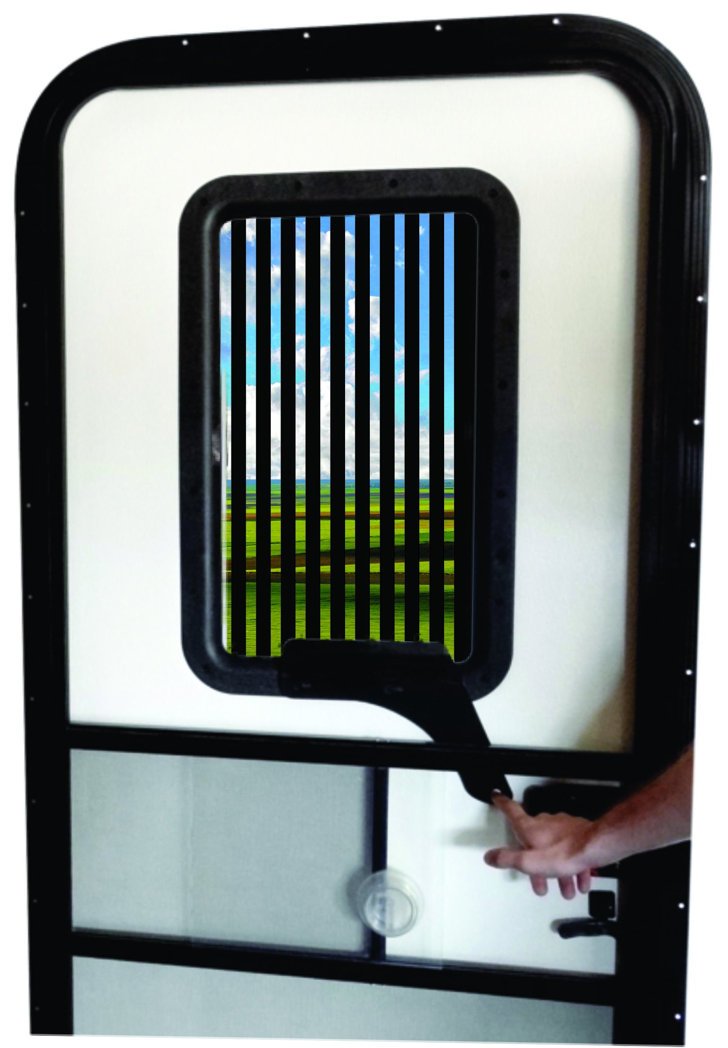 RV Door Window CloZures Shade, Controls Sun Glare, Privacy, and Outside View by Moving fingertip Lever, Without Opening Screen Door. Kit Includes Tinted Glass to Replace Frosted Glass. (Black)