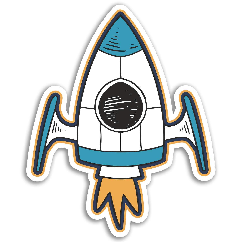 2 x 10cm Rocket Ship Vinyl Stickers Space Kids Boy/'s Fun Sticker Laptop #17560