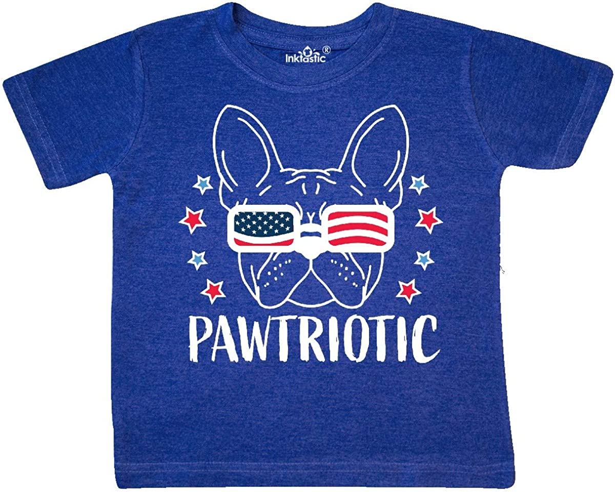inktastic Pawtriotic with Dog in American Flag Sunglasses Toddler T-Shirt
