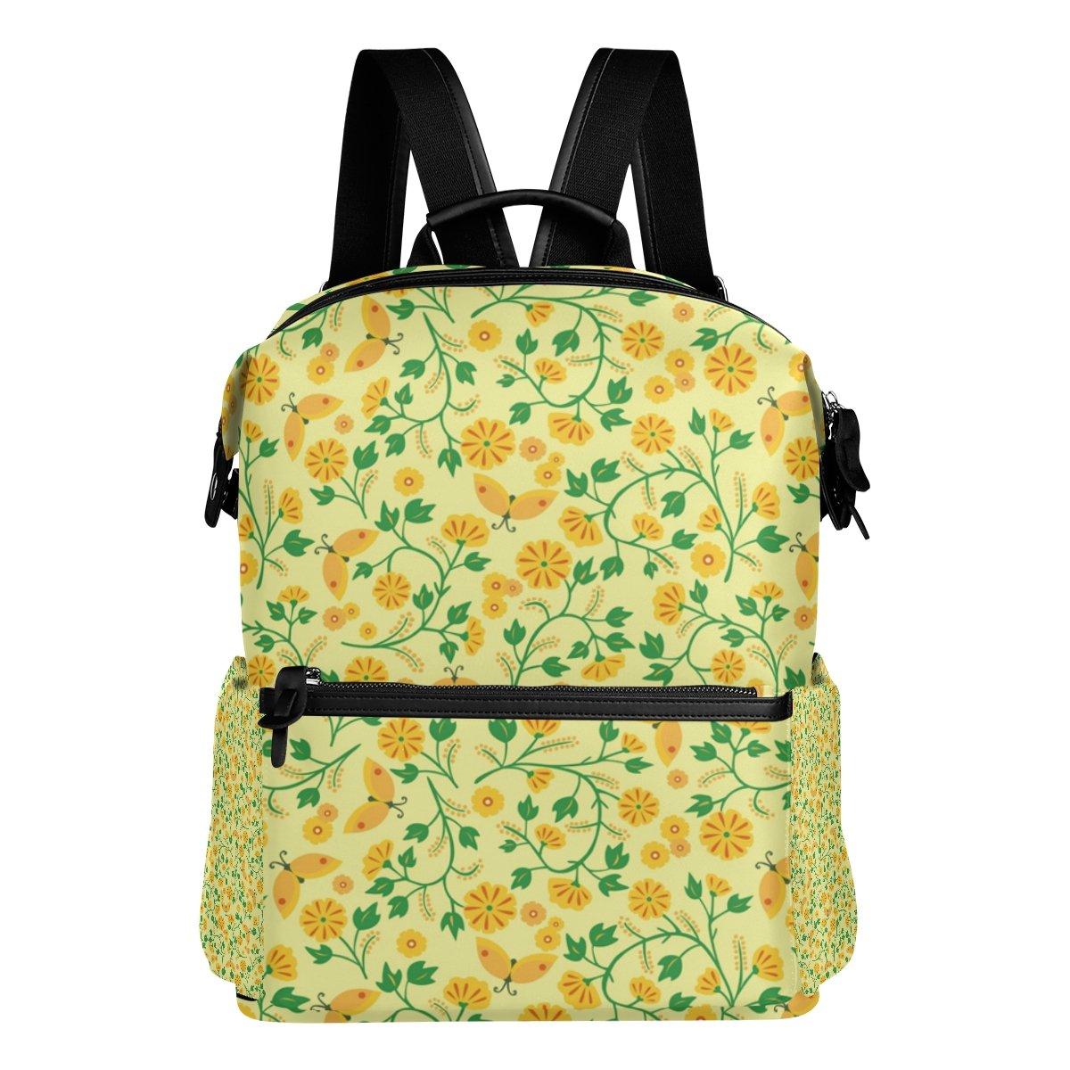 COOSUN Amarillo flores del estampado de flores Amarillo escuela de la mochila del morral del recorrido Multi d7b8c4