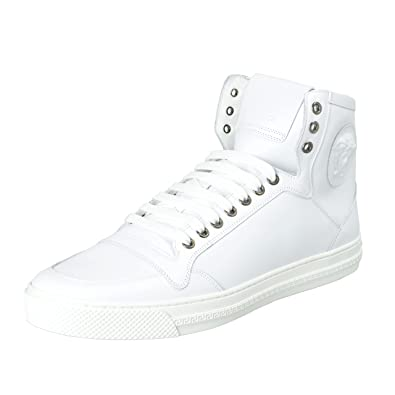 : Versace Men's White Leather Medusa Hi Top