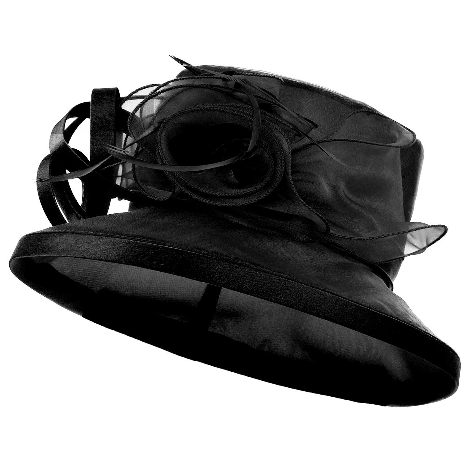 Original One Women's Kentucky Derby Tea Part Dress Church Fascinators Fancy Hats (Black) M