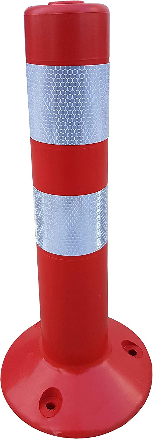 Red SNS SAFETY LTD Plastic Traffic Post with Reflective Collars made of Flexible Polyurethane Pack of 2, 45 cm