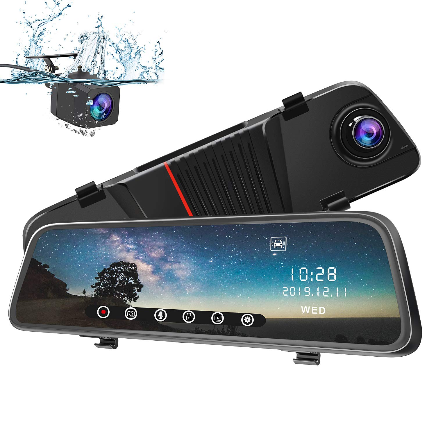 awesafe Mirror Dash Cam 1080P 10'' Touch Screen Front and Rear Dual Lens Rearview Mirror Camera with Parking Assistance Night Vision G-Sensor