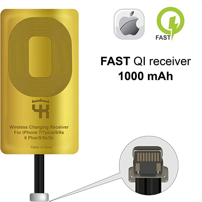 Charging Receiver IPhone Wireless Receiver QI Receiver for IPhone 5-5c QI Receiver QI Wireless Receiver IPhone 7-7 Plus 6-6 Plus QI Wireless Charging Adapter SE