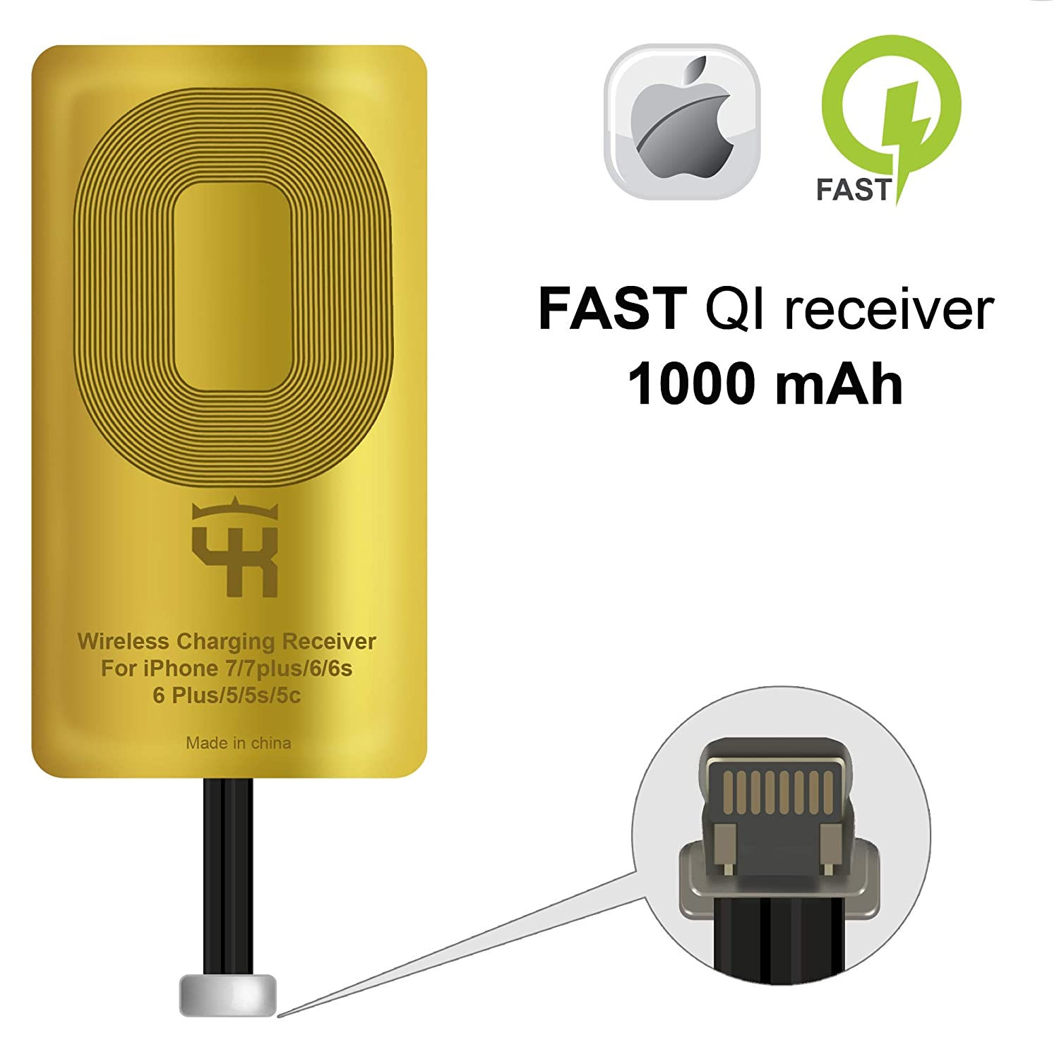 QI Receiver Compatible with iPhone 5-5c- SE- 6-6 Plus- 7-7 Plus- YKing iPhone Wireless Receiver- QI Receiver- Charging Receiver - QI Wireless Receiver iPhone- QI Receiver Adapter