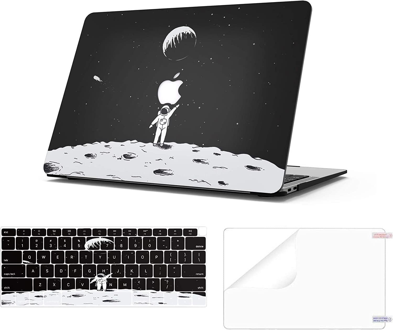 AOMO MacBook Air 13 Case 2020 2019 2018 Release A2179/A1932(with Retina Display and Touch ID),Ultra-Thin Plastic Hard Case with Keyboard Cover and Screen Protector - Space Astronaut 1
