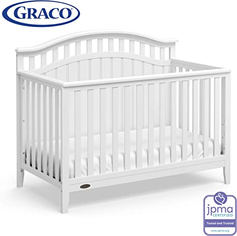 Graco Harper 4-in-1 Convertible Crib with Drawer Mattress Not Included White Easily Converts to Toddler Bed Day Bed or Full Bed,Three Position Adjustable Height Mattress,Some Assembly Required