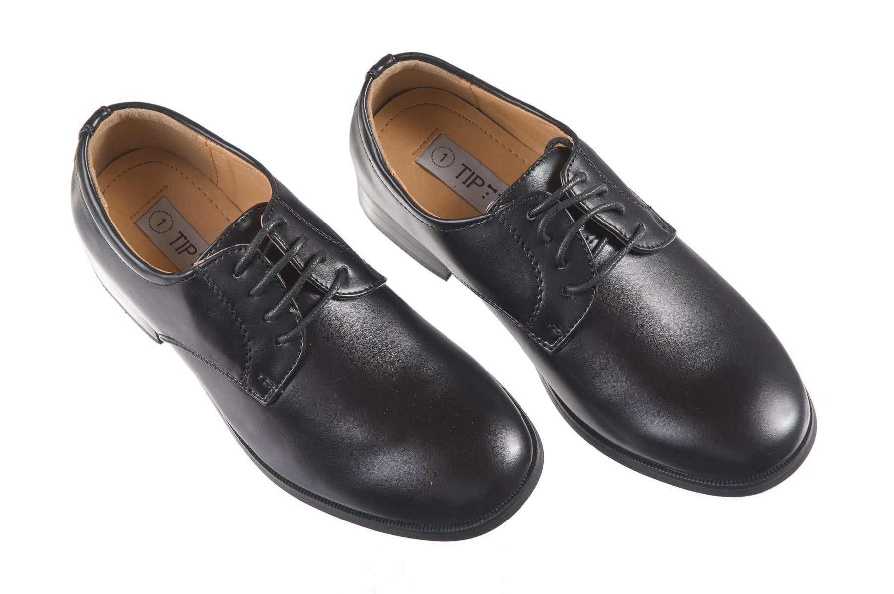 Boys Matte Black Tuxedo Shoes, Round Toe Style in Toddler and Big Boys Sizes (2 M US Little Kids)