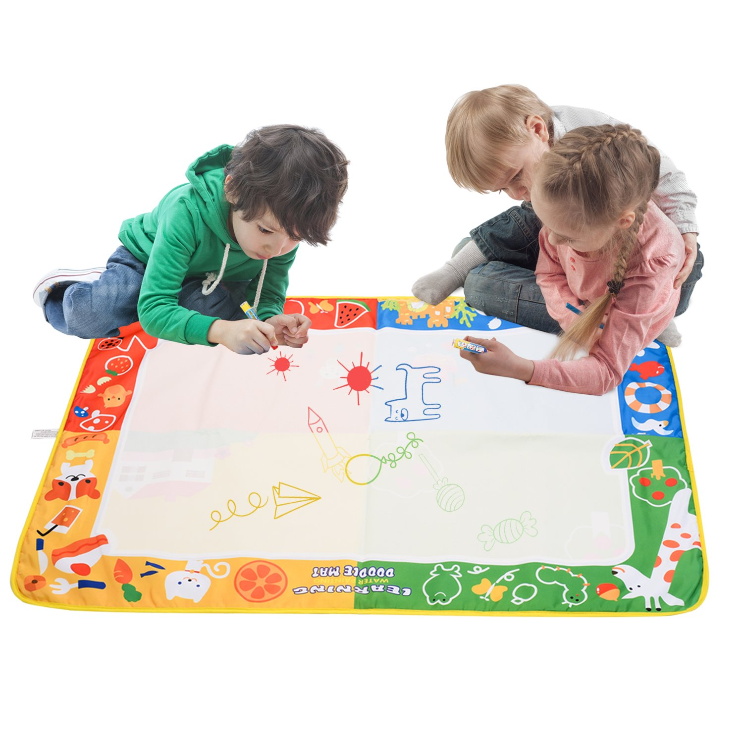 citymama Drawing Mat Doodle Magic mat water Drawing & writing Mat painting board 4 Colors with 3 Magic Drawing Pens and 15 Molds Kids Educational Toy Mat Gift for Children XL Size 40'' x 28'' by citymama (Image #2)